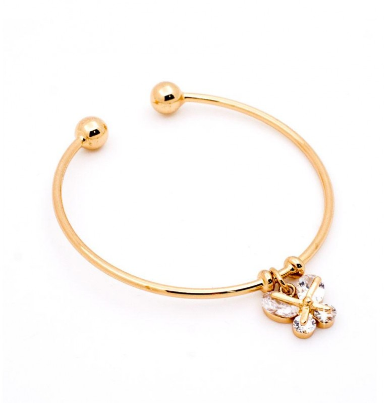 Butterfly Charm Open Bangle in Gold