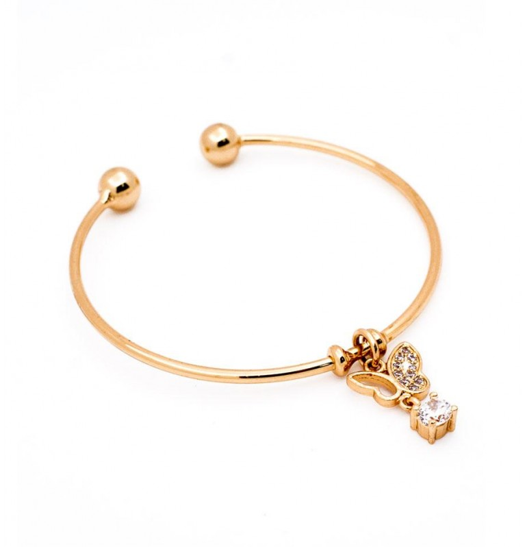 Isabelle Charm Open Bangle in Gold