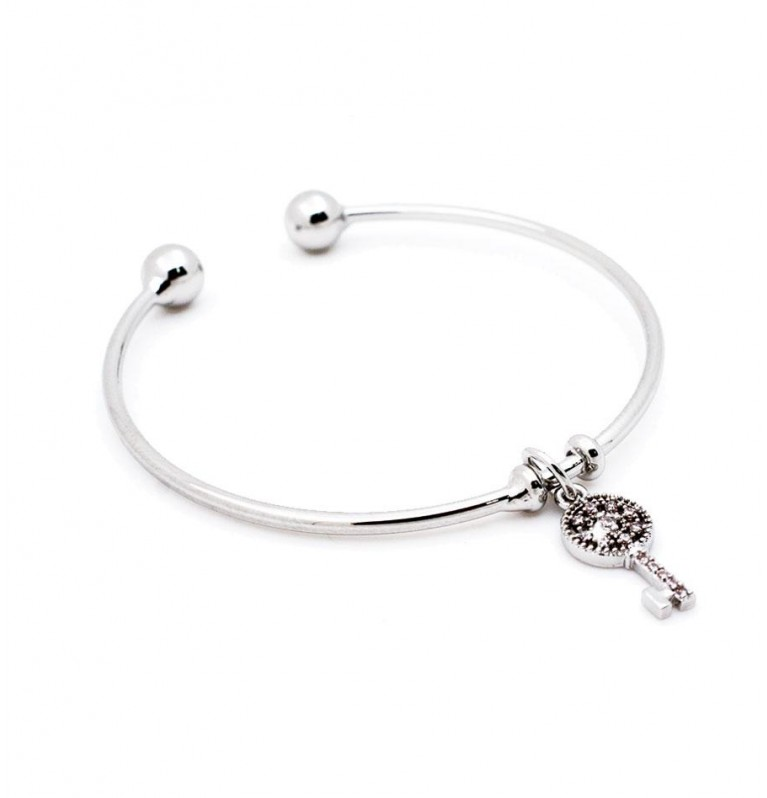 Key Charm Open Bangle in Silver