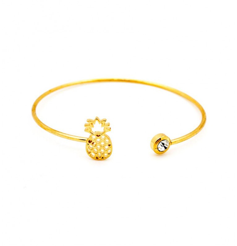 Funky Cutout Pineapple Open Bangle In Gold