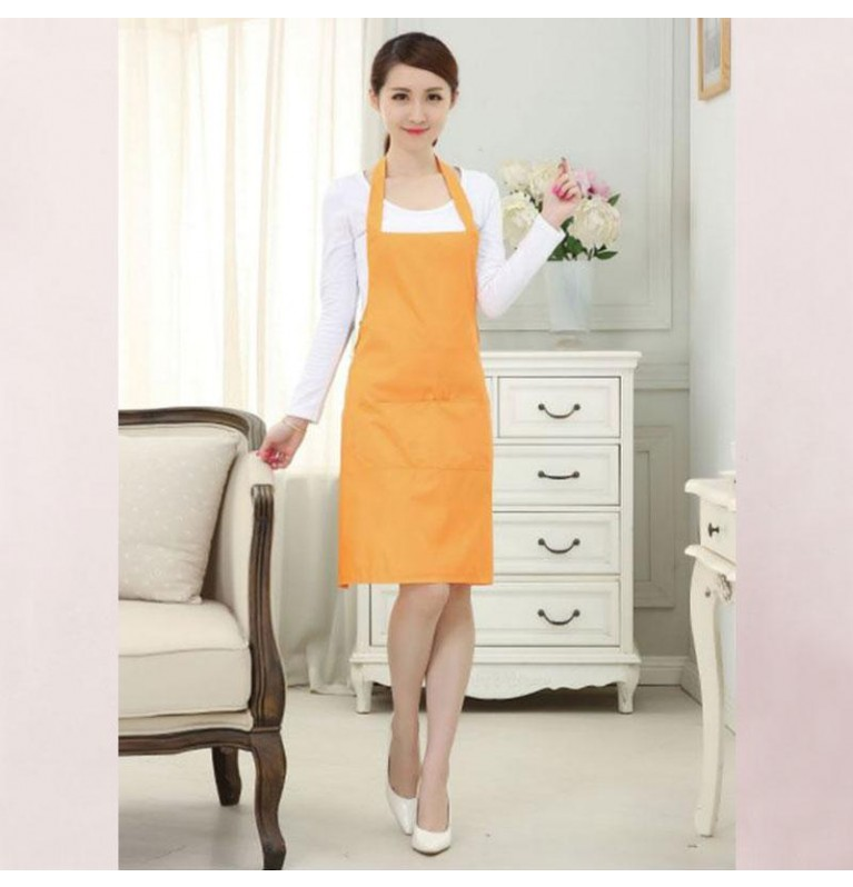 Simply Plain Colored Apron for Home or Business - Adult Orange [Logo Printing Available]