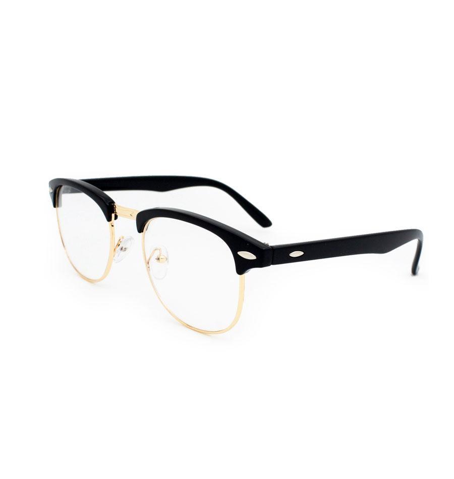 Half Frame Designer Glasses in Black & Gold - Eyewear