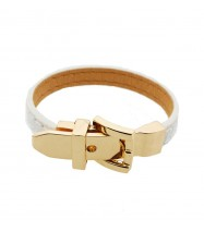 Gold Belt Buckle Leather Wristband in White
