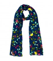 Chirping Swallow Scarf in Navy Blue