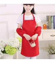 Simply Plain Colored Apron for Home or School - Kid's Size Red [Logo Printing Available]