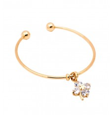 Lucky Clover Charm Open Bangle in Gold