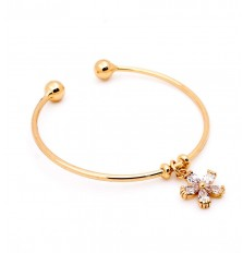 Flower Charm Open Bangle in Gold