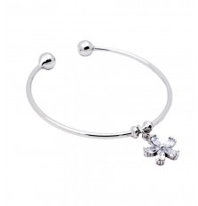 Flower Charm Open Bangle in Silver