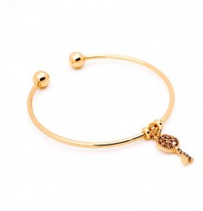 Key Charm Open Bangle in Gold