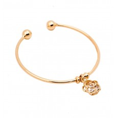 Rose Charm Open Bangle in Gold