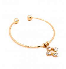 Square Loop Charm Open Bangle in Gold