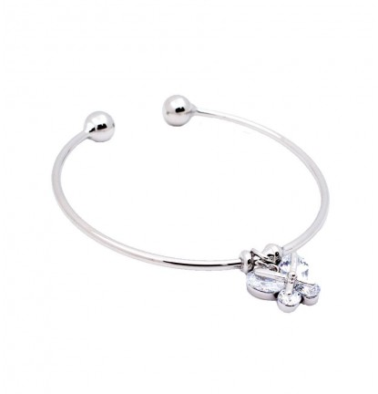 Butterfly Charm Open Bangle in Silver