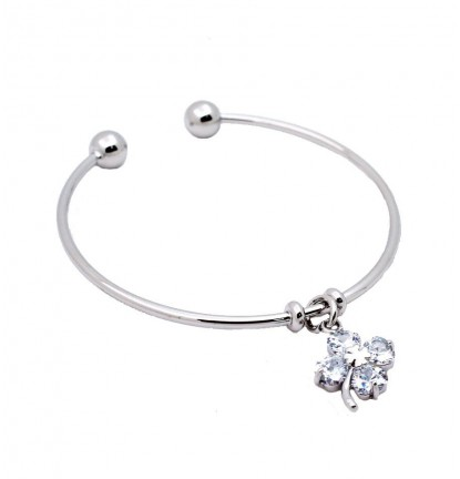 Lucky Clover Charm Open Bangle in Silver