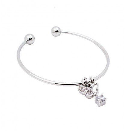 Isabelle Charm Open Bangle in Silver