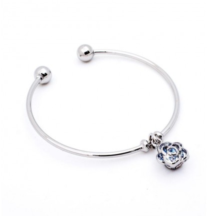 Rose Charm Open Bangle in Silver