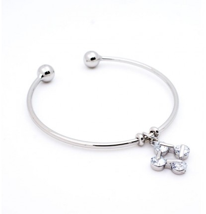 Square Loop Charm Open Bangle in Silver