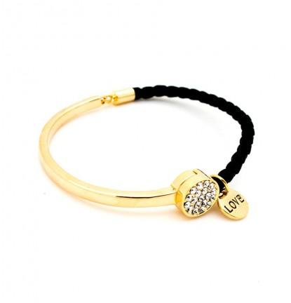 Half Cuff Braided Leather Cord Bracelet in Black & Gold