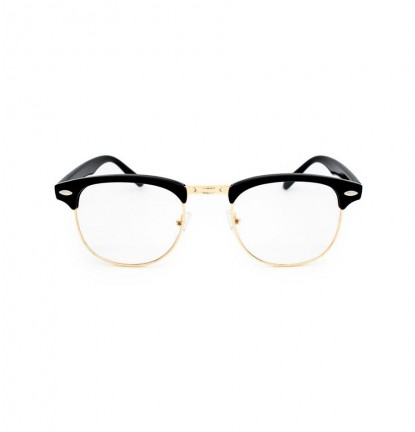 Half Frame Designer Glasses in Black & Gold