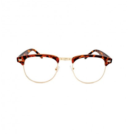 Half Frame Designer Glasses in Leopard Brown