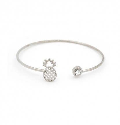 Funky Cutout Pineapple Open Bangle In Silver