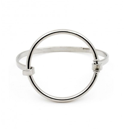 Timeless Chic Circle Cutout Bangle in Silver