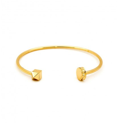 Cubic Stud & Nail Head End Open Bangle in Gold