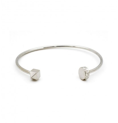 Cubic Stud & Nail Head End Open Bangle in Silver