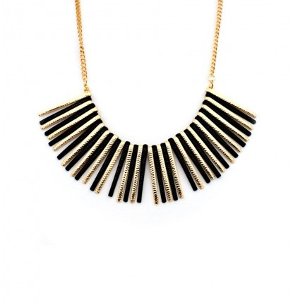 Chunky Matchstick Necklace in Black & Gold