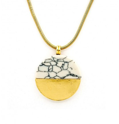 Circular Semi-circle Marble Necklace in Gold