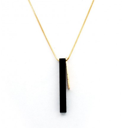 Metallic Military Bar Necklace in Gold