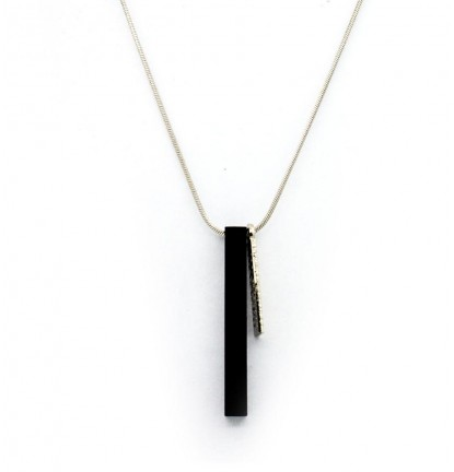 Metallic Military Bar Necklace in Silver