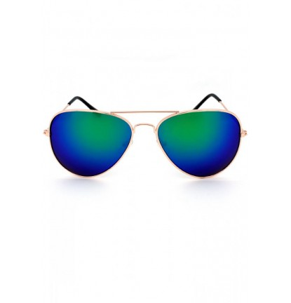 Mirrored Pilot Sunglasses In Blue/Green