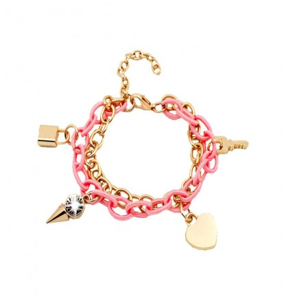 Key To My Heart Charm Bracelet in Pink