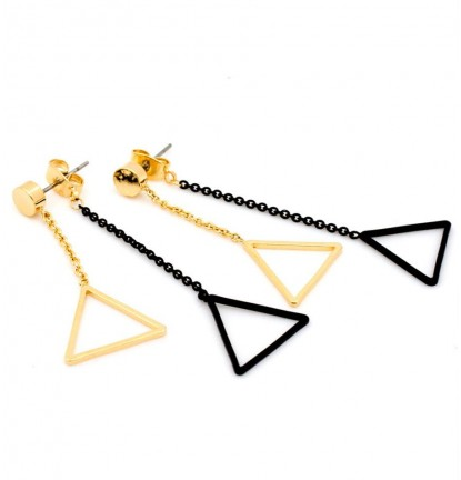 Duo Triangle Two Way Earring In Gold & Matte Black