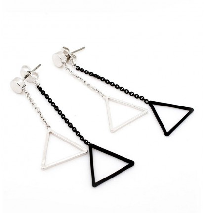 Duo Triangle Two Way Earring In Silver & Matte Black