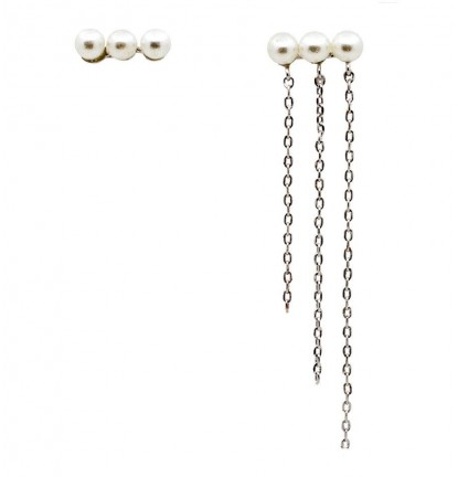 Falling Chain Pearl Asymmetric Ear Stud in Silver