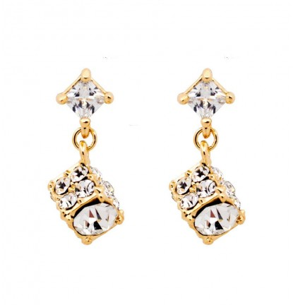 Dazzling Diamante Cubic Ear Stud in Gold