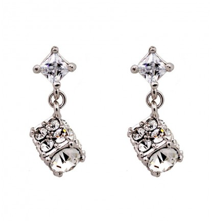 Dazzling Diamante Cubic Ear Stud in Silver