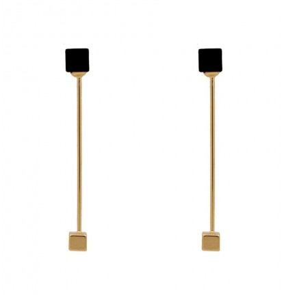 Double Cubic Two Way Earring In Gold & Black