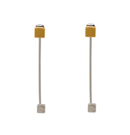 Double Cubic Two Way Earring In Gold & Silver