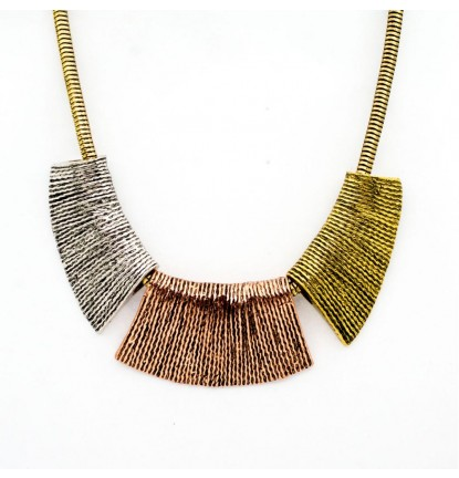 Tri - Colors Chunky Statement Necklace In Mix Color ( Silver , Rose Gold & Vintage Gold)