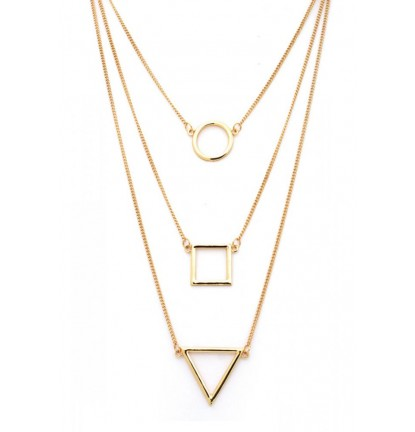Tri-Layered Geometric Necklace in Gold