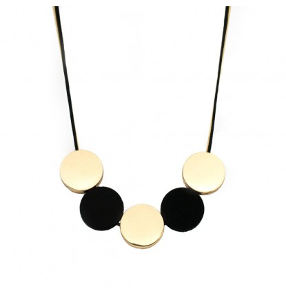 Five Circles Necklace In Gold & Black