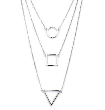 Tri-Layered Geometric Necklace in Silver