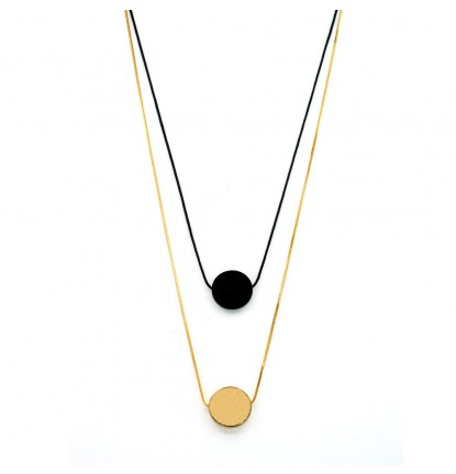 Circular Drape Necklace In Gold & Black