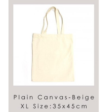 XL Size Eco Friendly Plain Canvas Bag | Suitable for Customization or Tailor Made - Beige [Logo Printing Available]