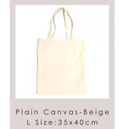 L Size Eco Friendly Plain Canvas Bag | Suitable for Customization or Tailor Made - Beige [Logo Printing Available]
