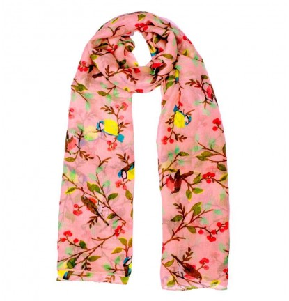 Chirping Swallow Scarf in Sweet Pink