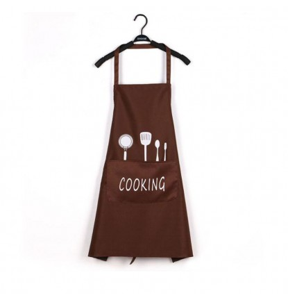 ♥ Happy Cooking Design ♥  Apron for Home or Business - Brown [Logo Printing Available]