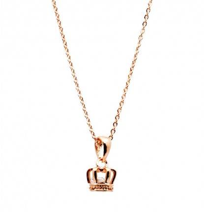 Little Crown Necklace in Rose Gold